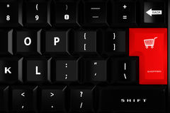 3d keyboard with a red shopping key Royalty Free Stock Photos