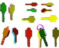 3d keys on white. 3d keys in various colors on white background Royalty Free Stock Photos