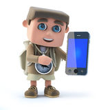 3d Kid hiker with smartphone Royalty Free Stock Images