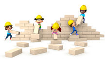3D kids building a wall Royalty Free Stock Photography