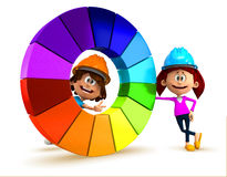 3D kids with a color chart Royalty Free Stock Photography