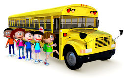 3D Kids going to school by bus Stock Images