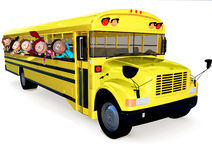 3D kids in a school bus Royalty Free Stock Images