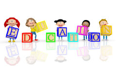 3D kids spelling education Stock Photography