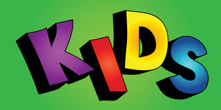 3D kids word. Colorful 3D cartoon text KIDS on colorful background stock illustration