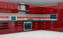 3d Kitchen. 3d render of modern kitchen in red color Stock Photo