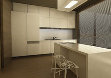 3d kitchen design. Interior decoration Royalty Free Stock Photos