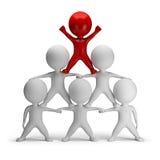 3d kleine Leute - Pyramide des Erfolgs Stockfotos