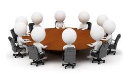 3d kleine Leute - Sitzung hinter einer runden Tabelle Lizenzfreie Stockfotos