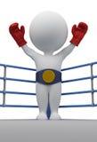 3d kleine mensen - bokser de kampioen stock illustratie
