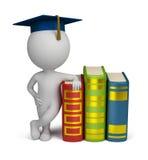 3d kleine mensen - gediplomeerde en boeken Stock Foto