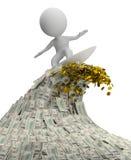 3d kleine mensen - golf van geld Royalty-vrije Stock Afbeelding