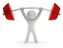 3d kleine mensen - het opheffen van de Atleet gewichten royalty-vrije illustratie