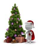 3d kleine mensen - Kerstman en een Kerstboom Stock Foto