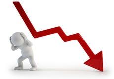 3d kleine mensen - negatieve grafiek Stock Afbeelding