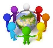 3d kleine mensen - vrede op de Aarde Stock Foto