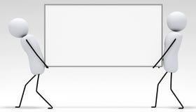 [3D kleine mensenreeks] Dragende witte raad Stock Afbeeldingen