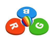3d kleurenpalet - rode, donkerblauwe en groene kleuren Stock Fotografie