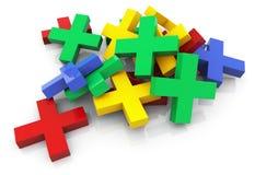 3d kleurrijk plusteken Stock Afbeeldingen