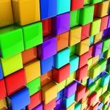 3d kleurrijke glanzende kubussenmuur Stock Afbeeldingen