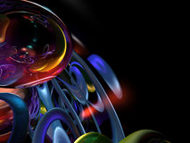 3D Kleurrijke Samenvatting geeft Zwarte Achtergrond terug Stock Foto