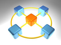 3D Knoop van het Netwerk Stock Foto's