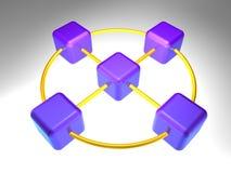 3D Knoop van het Netwerk Royalty-vrije Stock Afbeeldingen