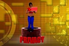 3d kobiety prywatności illustraton Obrazy Stock