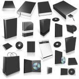 3d kolekci czarny pusta pokrywa Zdjęcia Royalty Free