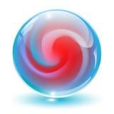 3D Kristall, Glaskugel. stock abbildung