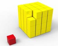 3d kubus die op wit wordt geïsoleerdb Stock Fotografie