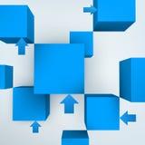 3d kubussen met pijlen Stock Fotografie