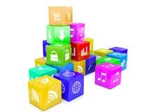 3d kubussen van een illustratiekleur Royalty-vrije Stock Afbeeldingen