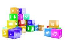 3d kubussen van een illustratiekleur Stock Foto's