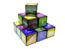 3d kubussen van een illustratiekleur Stock Foto
