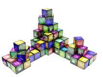 3d kubussen van een illustratiekleur Stock Fotografie