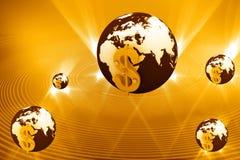 3d kula ziemska dolarowy znak Zdjęcie Stock