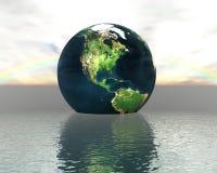 3d kuli ziemskiej woda Obrazy Royalty Free