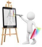 3D Kunstenaar - het schilderen van de Kunstenaar in een tabletPC Stock Foto