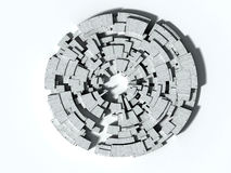 3D Labyrinth. 3D rendering of architectural abstract, concrete blocks maze Stock Images