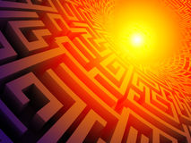 3D labyrinth. 3D colored labyrinth disapearing in a infinite hole Royalty Free Stock Image