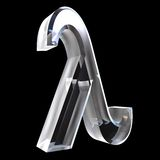 3D Lambda symbol in glass. On black Royalty Free Stock Photo