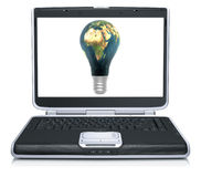 3D lamp earth textured on laptop screen Stock Photography
