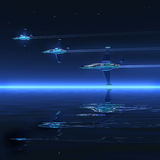 3d landscape, ocean and battle-planes. Night 3d graphics misty blue landscape - ocean and fly battle-planes Royalty Free Stock Photo