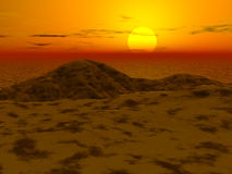 3d landscape - sunset. In a desert and hills stock illustration