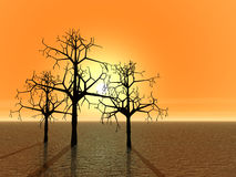 3d landscape with tree. Sunset Stock Image