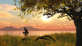Free 3D Landscape With Boat On River Royalty Free Stock Photography - 51087737