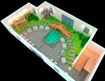 3D Landscaped. The perfect backyard, Landscaped. 3D render royalty free illustration