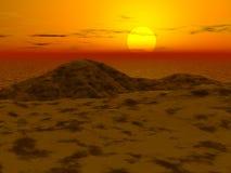 3d landschap - zonsondergang Stock Afbeelding