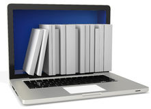 3d laptop with book shelves Stock Photo